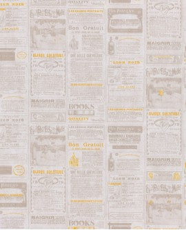 Papier peint WORDS NEWSPAPER Jaune WRD67132002