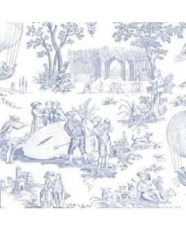 Tissu Toile de Jouy Charles Burger Ballon de Gonesse Bleu