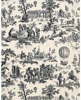 Tissu Toile de Jouy Charles Burger Ballon de Gonesse Noir