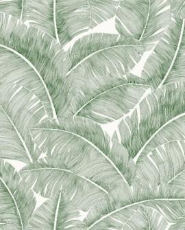 Tissu Thevenon Totem vert sapin fond crème