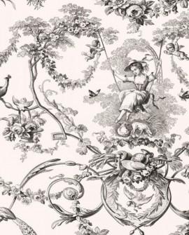 Tissu Thevenon Toile de Jouy Ludivine noir fond écru
