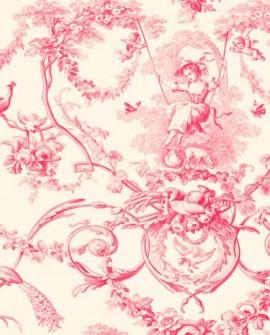 Tissu Thevenon Toile de Jouy Ludivine rose fond crème