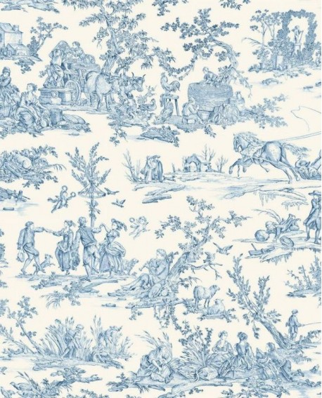 Tissu Thevenon Quatre Saisons Bleu 2161602