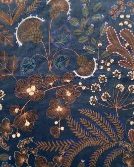 Tissu Thevenon Phoenix velours fond Bleu pétrole 2213912