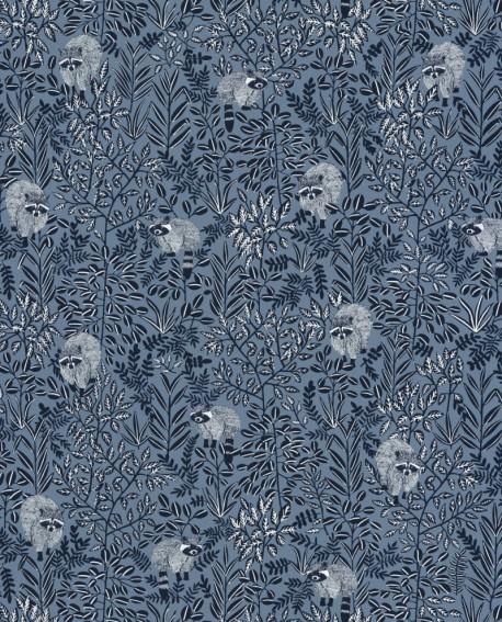 Papier peint Caselio Hygge Raccoon Bleu 100546911