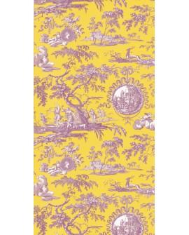 Papier Peint Toile de Jouy Charles Burger Chasse de Diane Jaune/lilas
