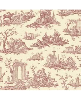 Papier Peint Toile de Jouy Charles Burger Fragonard Rouge