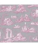 Papier Peint Toile de Jouy Charles Burger Fragonard Gris