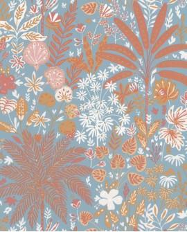Papier peint Caselio Hygge Hope Ocre et bleu céleste 100596524