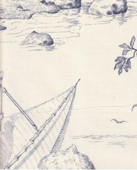Tissu Toile de Jouy Charles Burger Robinson Crusoe Bleu