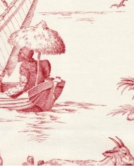 Tissu Toile de Jouy Charles Burger Robinson Crusoe Rouge