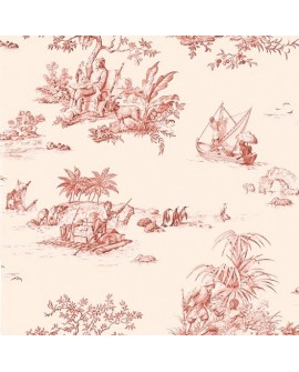 Tissu Toile de Jouy Charles Burger Robinson Crusoe Rouge