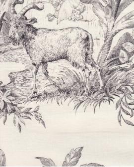 Tissu Toile de Jouy Charles Burger Robinson Crusoe Noir