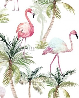Papier peint XXL Esta Home Jungle Fever Flamants Rose 158844
