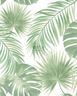 Papier peint Esta Home Jungle Fever Feuilles tropicales Vert menthe 139012