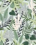 Papier peint XXL Esta Home Jungle Fever Feuilles scandinaves vert menthe 158894