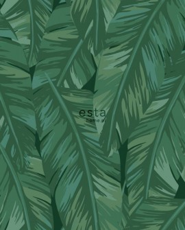 Papier peint Esta Home Jungle Fever Feuilles de bananier vert 139016