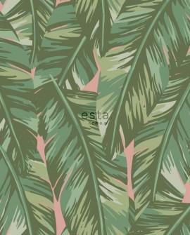 Papier peint Esta Home Jungle Fever Feuilles de bananier vert et rose 139015