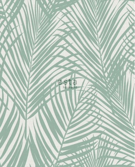 Papier peint Esta Home Jungle Fever Feuilles de palmier vert 139005