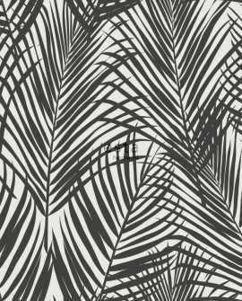 Papier peint Esta Home Jungle Fever Feuilles de palmier noir 139008