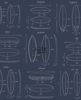 Papier peint Esta Home Regatta Crew Dessins planches de surf Bleu 128871