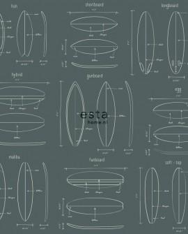 Papier peint Esta Home Regatta Crew Dessins planches de surf Vert grisé 128870