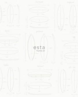 Papier peint Esta Home Regatta Crew Dessins planches de surf Argent 128869