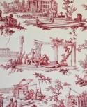 Tissu Toiles de Jouy Casal Travaux de la manufacture Rouge 30416