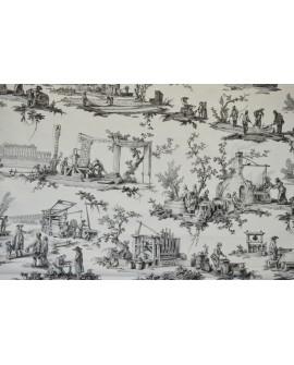 Tissu Toiles de Jouy Casal Travaux de la manufacture Gris 30416