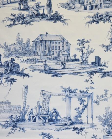 Tissu Toiles de Jouy Casal Travaux de la manufacture Bleu 30416