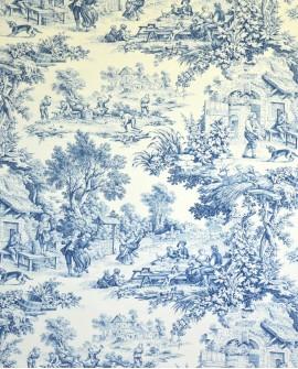 Tissu Toiles de Jouy Casal Ronde villageoise Bleu 30343