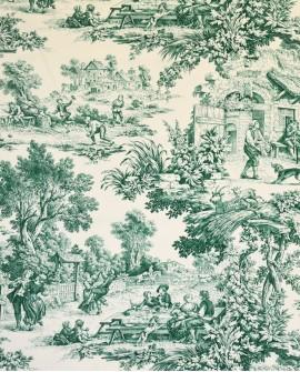 Tissu Toiles de Jouy Casal Ronde villageoise Vert 30343