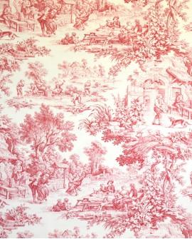 Tissu Toile de Jouy Casal Ronde villageoise Framboise 30343/70