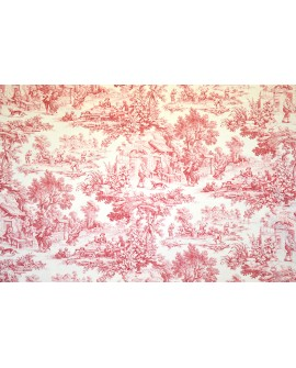 Tissu Toiles de Jouy Casal Ronde villageoise Framboise 30343