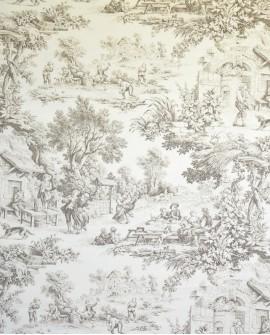 Tissu Toiles de Jouy Casal Ronde villageoise Taupe 30343