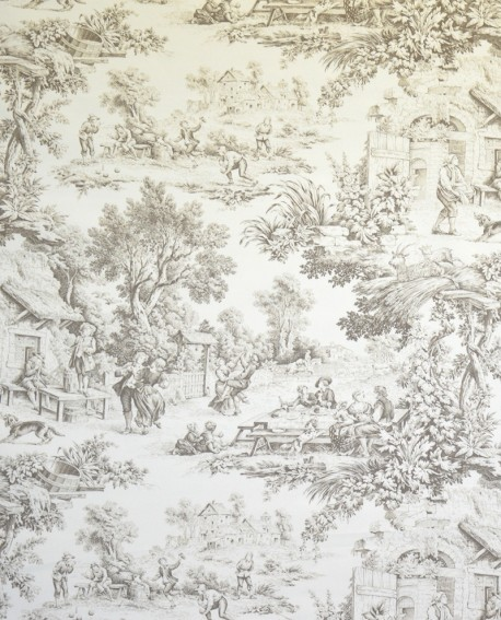 Tissu Toiles de Jouy Casal Ronde villageoise Taupe 30343
