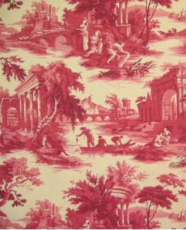 Tissu Toiles de Jouy Casal Scènes de pêche Rouge 30301