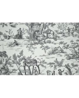Tissu Toiles de Jouy Casal Jouy : le village Noir 30260