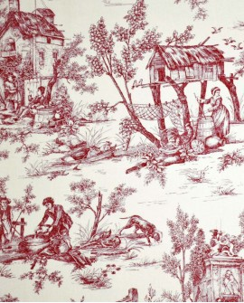 Tissu Toiles de Jouy Casal Jouy : le village Rouge 30260