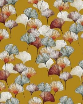 Tissu Thevenon Céline fond jaune cumin 2250603