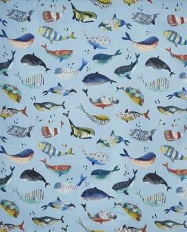 Tissu Prestigious Textiles Baleines coloris Pacific 5036/701
