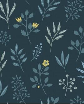 Papier peint Esta Home Scandi Cool Fleurs scandinaves Bleu 139082