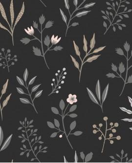 Papier peint Esta Home Scandi Cool Fleurs scandinaves Noir 139083