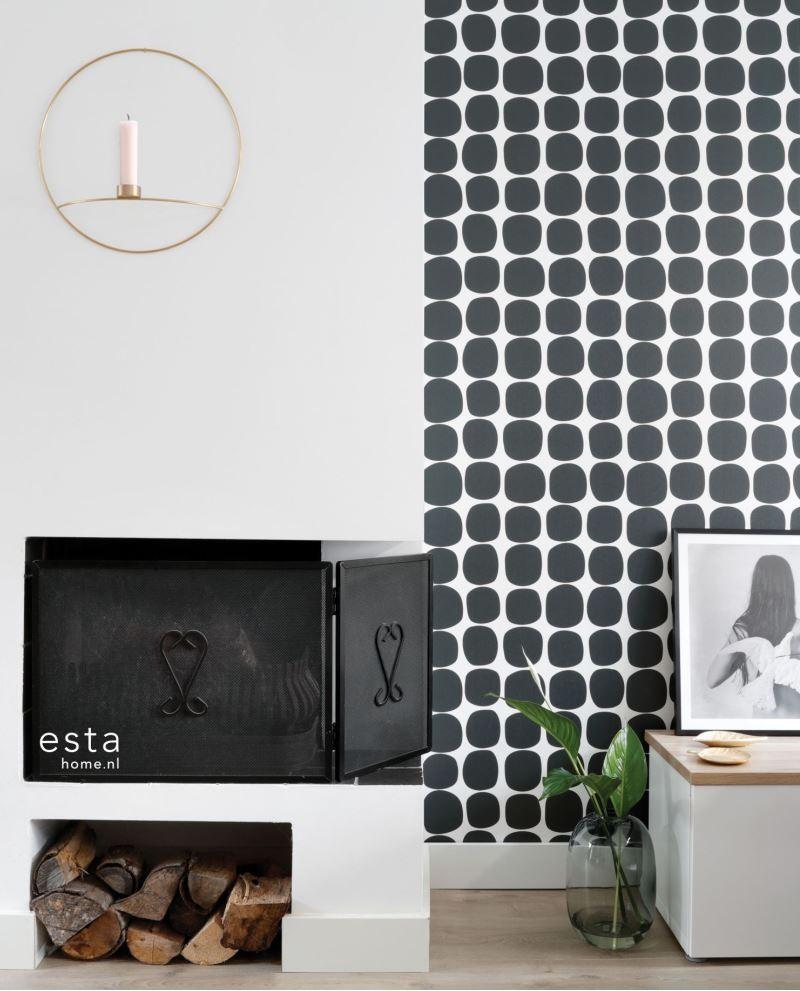 Papier Peint Noir Et Blanc Graphique papier peint esta home scandi cool pois graphique noir