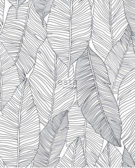 Papier peint Esta Home Jungle Fever Dessins de Feuilles Noir 139011