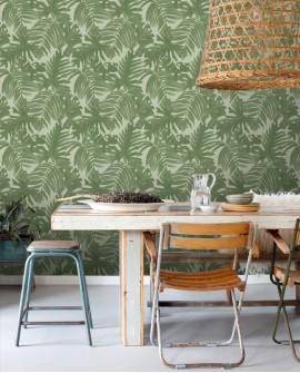 Papier peint Esta Home Jungle Fever Feuilles Tropicales Vert 138990
