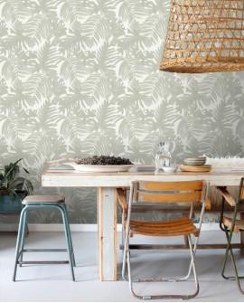 Papier peint Esta Home Jungle Fever Feuilles Tropicales Gris 138989
