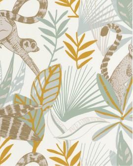 Papier peint tropical Caselio Odyssée Madagascar Vert/jaune/doré OYS101407218