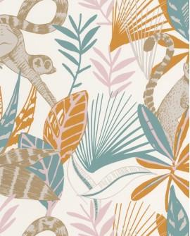 Papier peint tropical Caselio Odyssée Madagascar Bleu/ocre/rose/doré OYS101403211