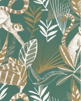 Papier peint tropical Caselio Odyssée Madagascar Vert émeraude/doré OYS101407800